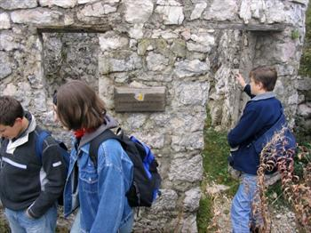 Young students visiting the open-air museum