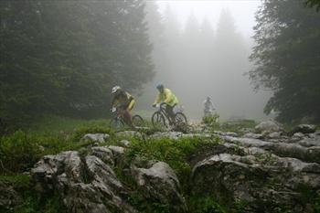 In mountain bike nei boschi dell'Altopiano